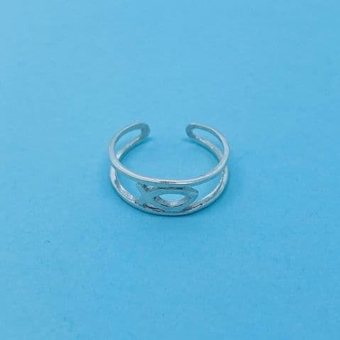 Genuine Sterling Silver Ichthys Jesus Alpha Fish Toe Ring One Size Fits All